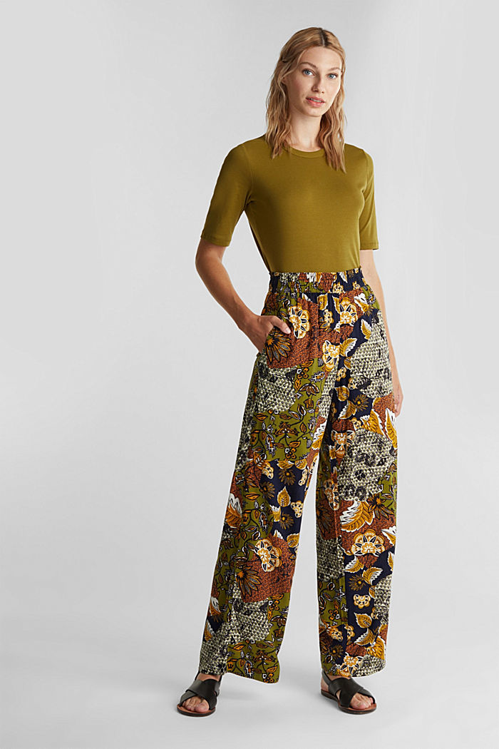 Wide-leg trousers with print, OLIVE, detail image number 1