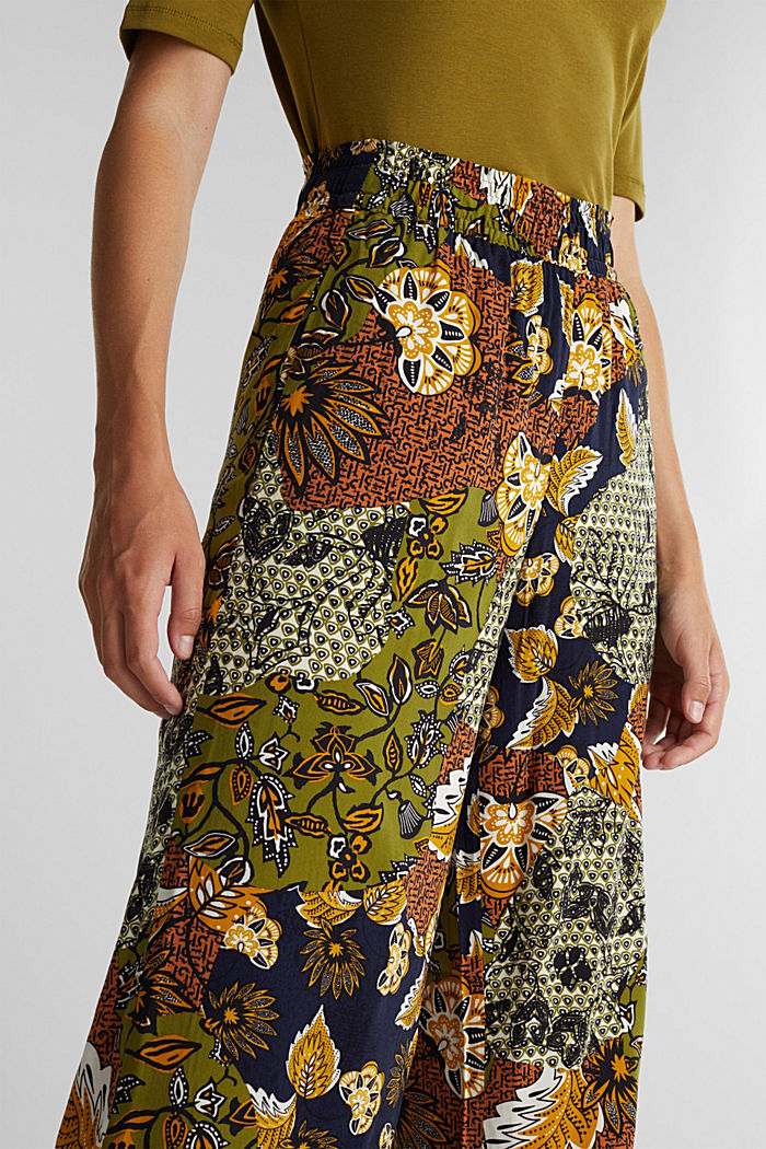Wide-leg trousers with print, OLIVE, detail image number 2