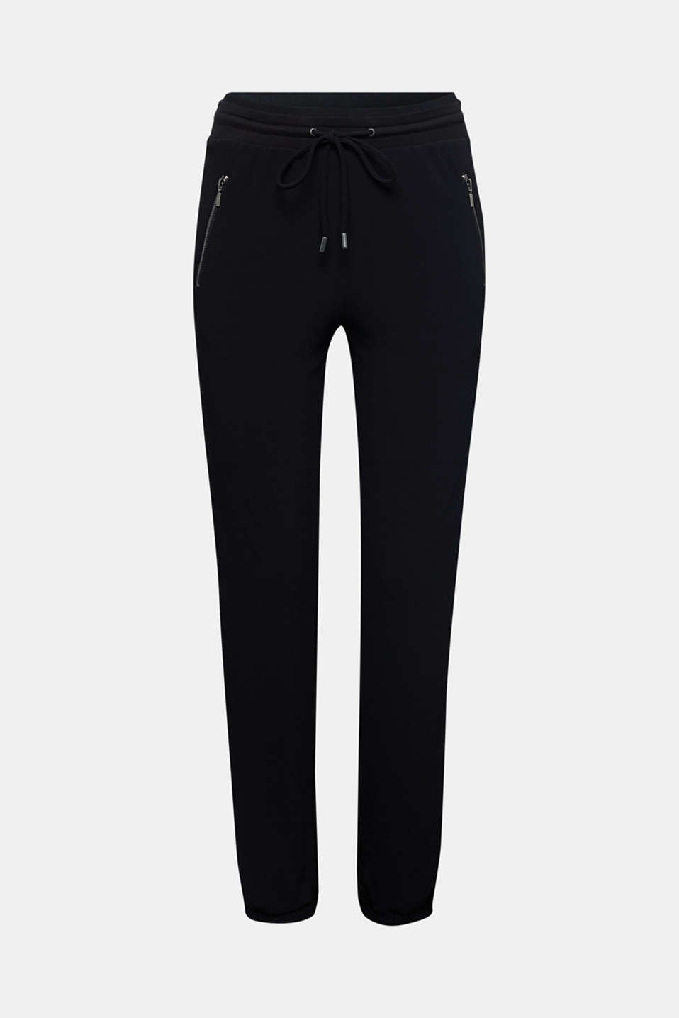 Crêpe trousers in a tracksuit bottom style, BLACK, detail image number 5