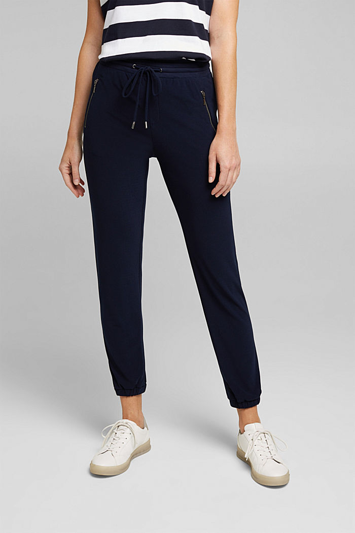 Crêpe trousers in a tracksuit bottom style