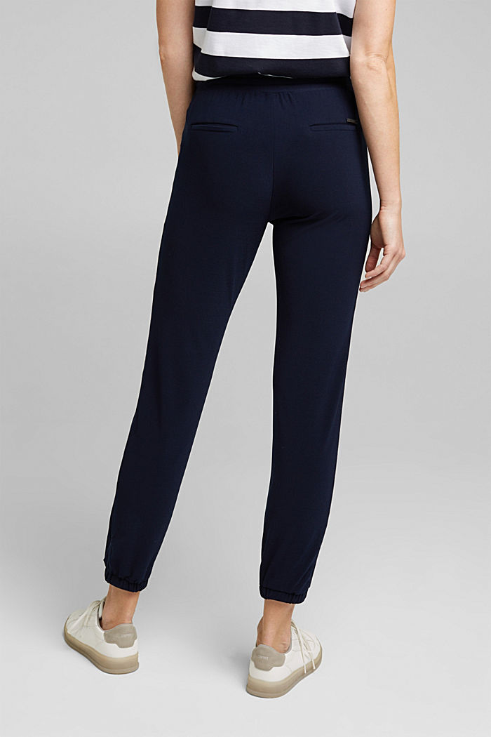 Crêpe trousers in a tracksuit bottom style, NAVY, detail image number 2