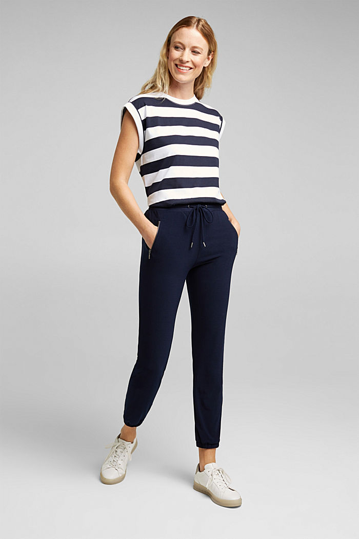 Crêpe trousers in a tracksuit bottom style, NAVY, detail image number 1