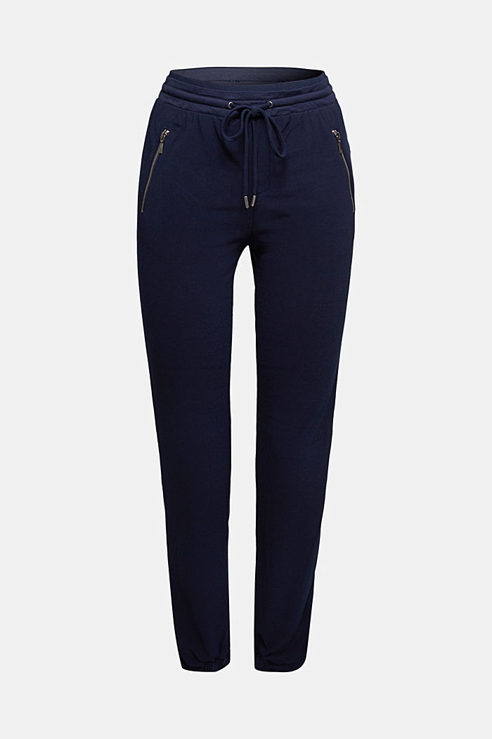 Crêpe trousers in a tracksuit bottom style, NAVY, detail image number 5