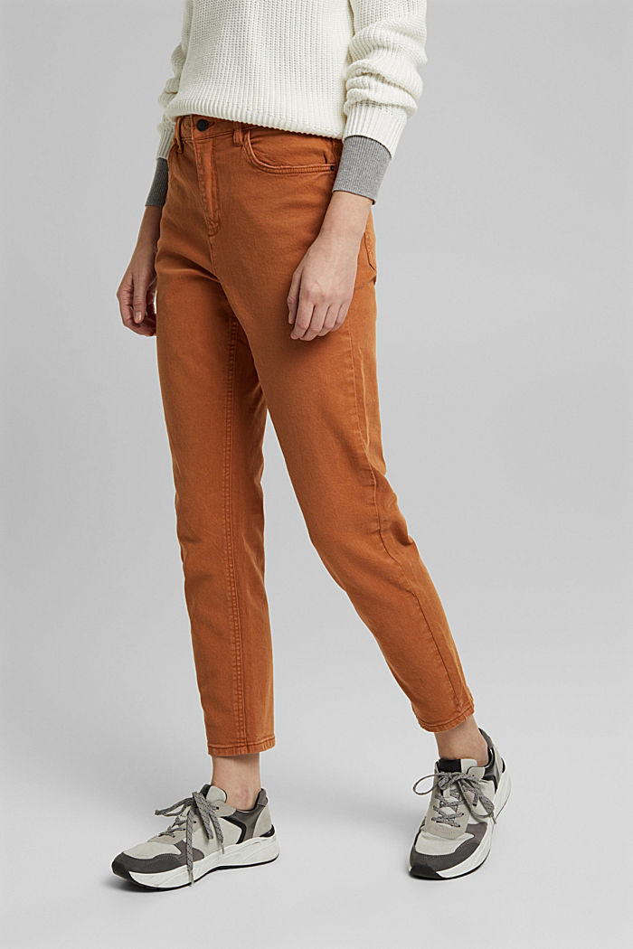 Trousers with organic cotton, RUST BROWN, detail image number 0