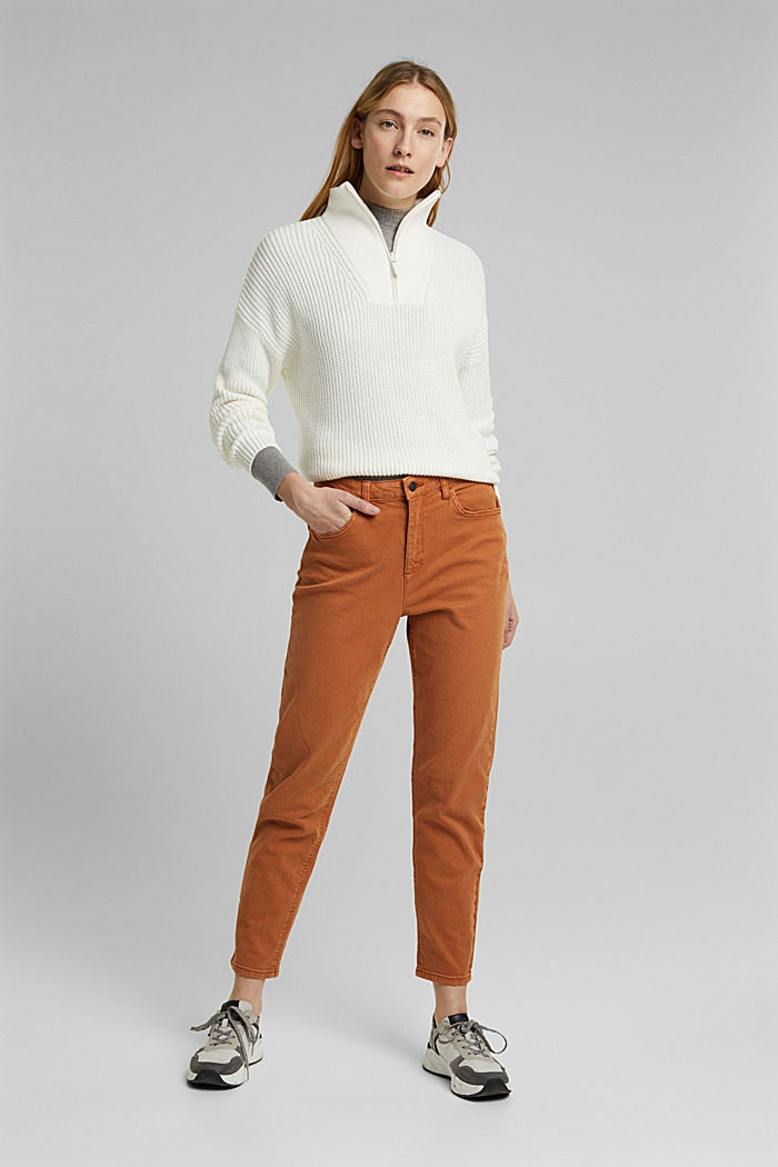 Trousers with organic cotton, RUST BROWN, detail image number 4