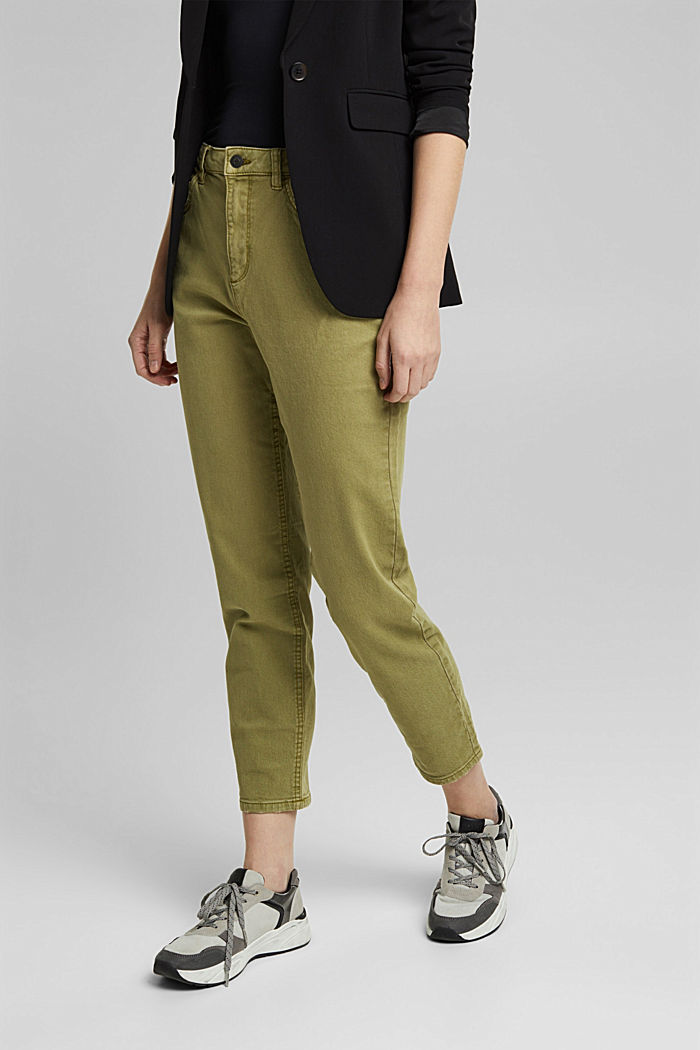 Trousers with organic cotton, OLIVE, overview