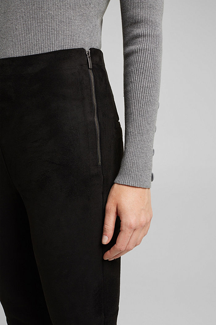 Trousers in faux suede, BLACK, detail image number 2