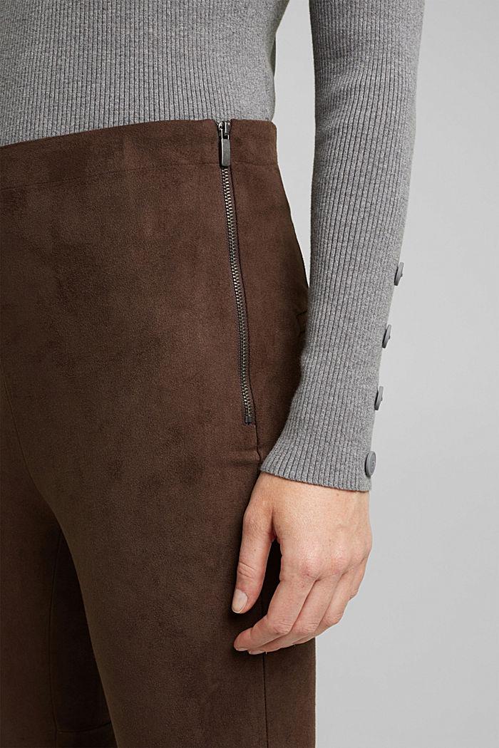 Hose in Veloursleder-Optik, DARK BROWN, detail image number 2