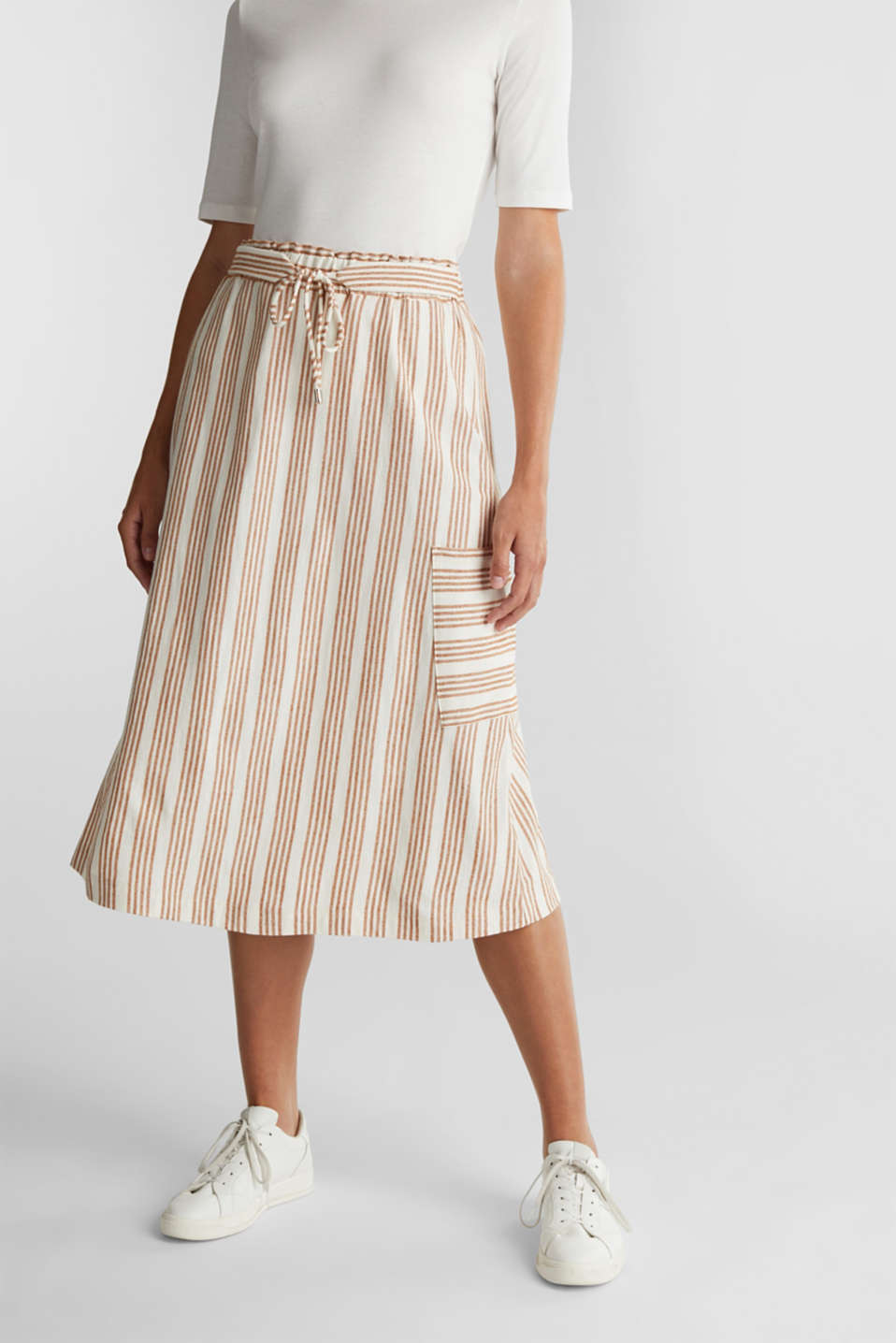 Esprit - Midi skirt made of organic cotton with linen