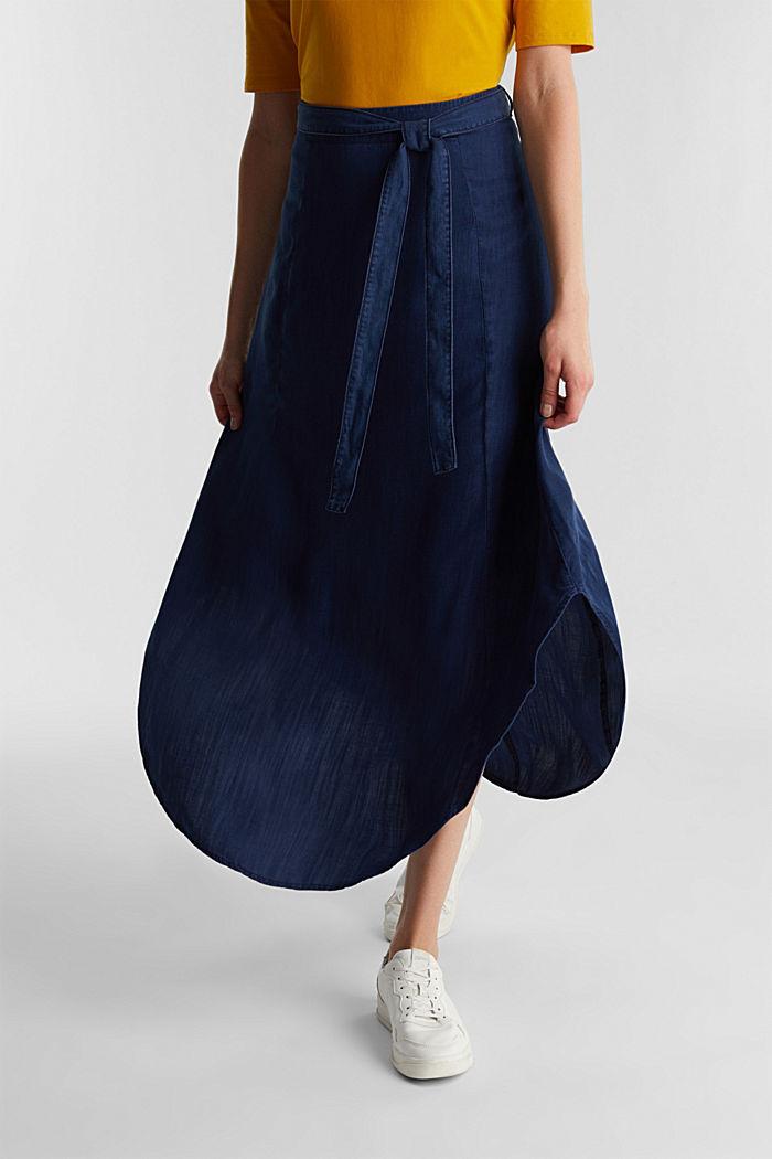 Denim skirt with a belt, 100% lyocell, BLUE DARK WASHED, detail image number 0