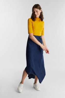 Denim skirt with a belt, 100% lyocell, BLUE DARK WASH, detail