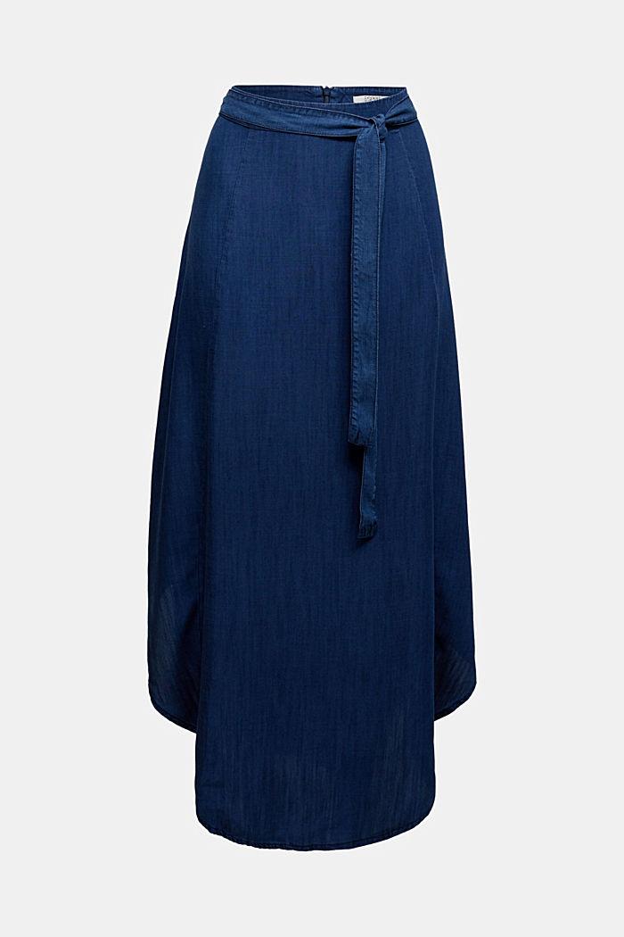 Denim skirt with a belt, 100% lyocell, BLUE DARK WASHED, detail image number 4