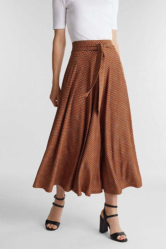 Midi jersey skirt with an all-over print, RUST BROWN, detail image number 0