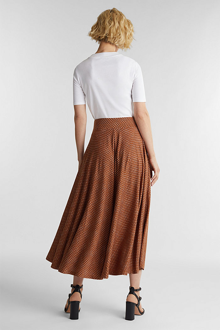 Midi jersey skirt with an all-over print, RUST BROWN, detail image number 3