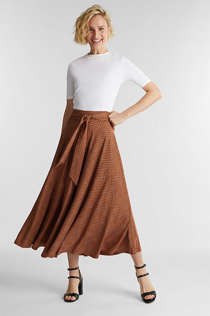 Midi jersey skirt with an all-over print, RUST BROWN, detail image number 1