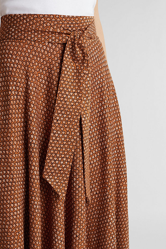 Midi jersey skirt with an all-over print, RUST BROWN, detail image number 2
