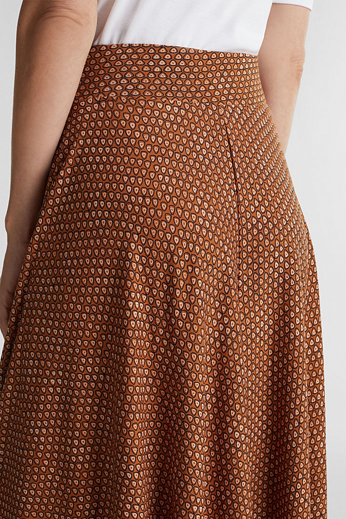 Midi jersey skirt with an all-over print, RUST BROWN, detail image number 5