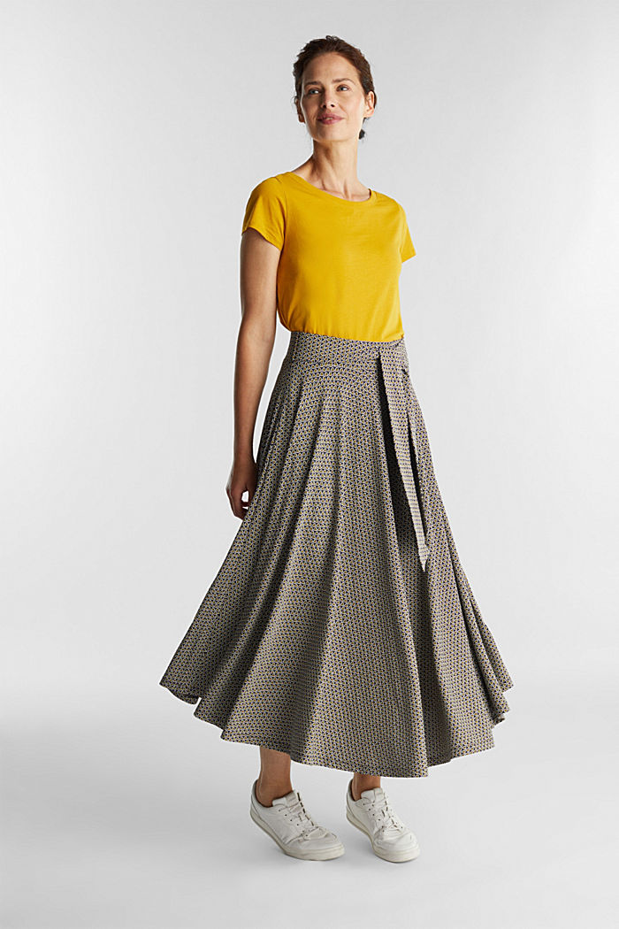 Midi jersey skirt with an all-over print, NAVY, detail image number 5