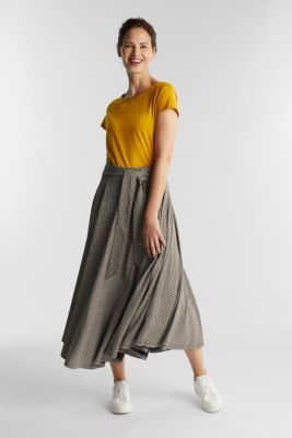 Midi jersey skirt with an all-over print, NAVY, detail