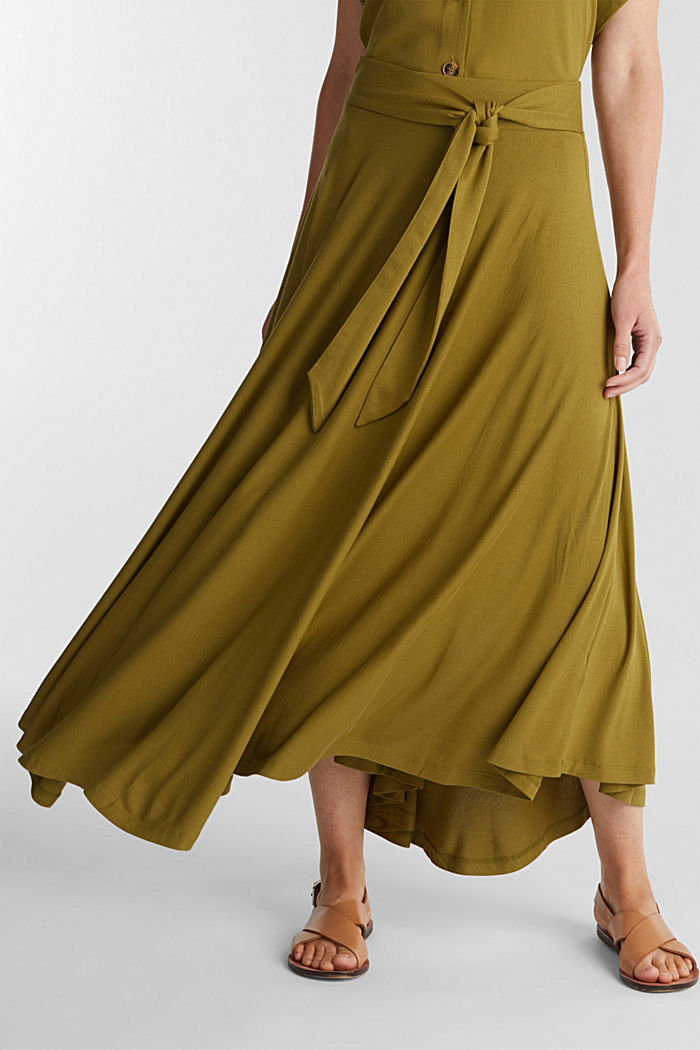 Jersey midi skirt made of stretch viscose, OLIVE, detail image number 0