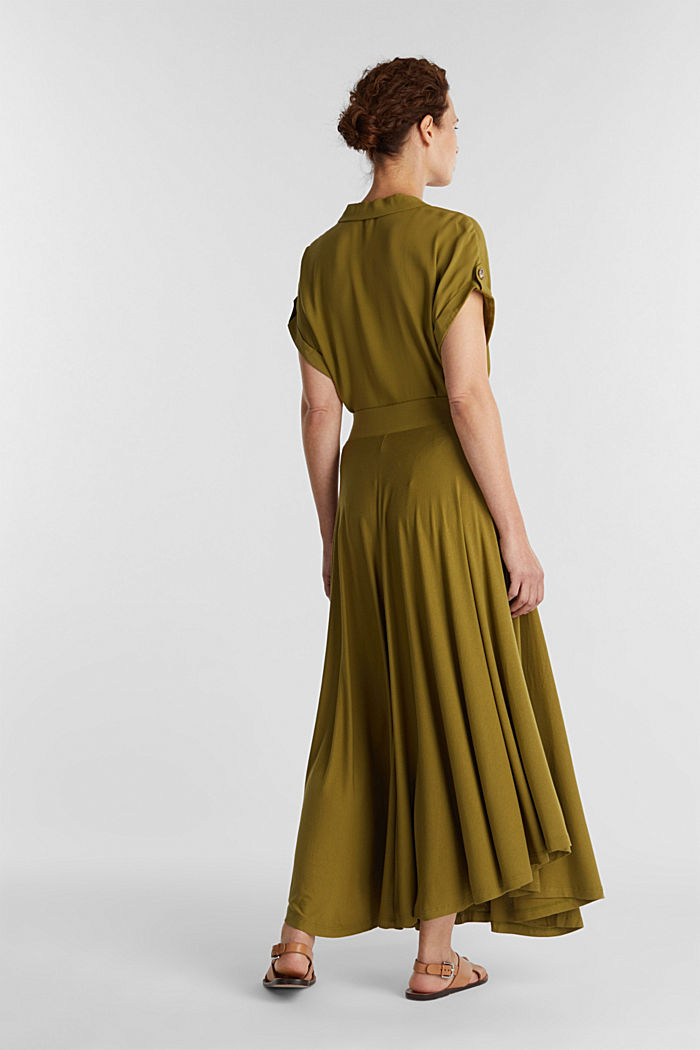 Jersey midi skirt made of stretch viscose, OLIVE, detail image number 3