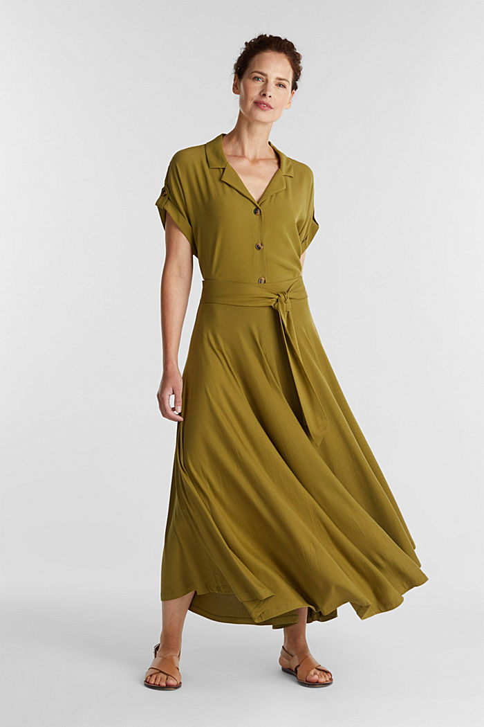 Jersey midi skirt made of stretch viscose, OLIVE, detail image number 1