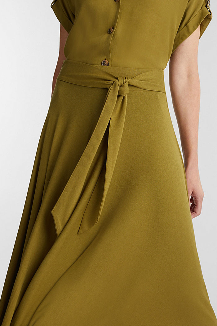 Jersey midi skirt made of stretch viscose, OLIVE, detail image number 2