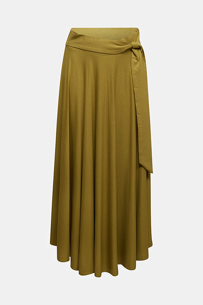 Jersey midi skirt made of stretch viscose, OLIVE, detail image number 6