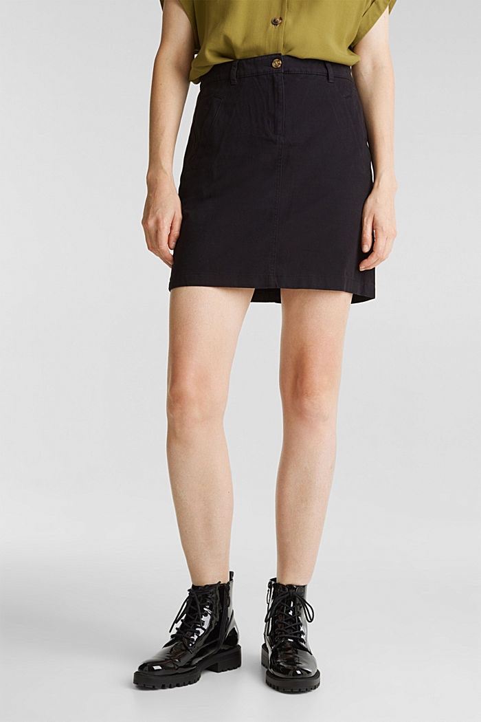 Mini skirt in 100% cotton, BLACK, detail image number 0