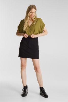 Mini skirt in 100% cotton, BLACK, detail