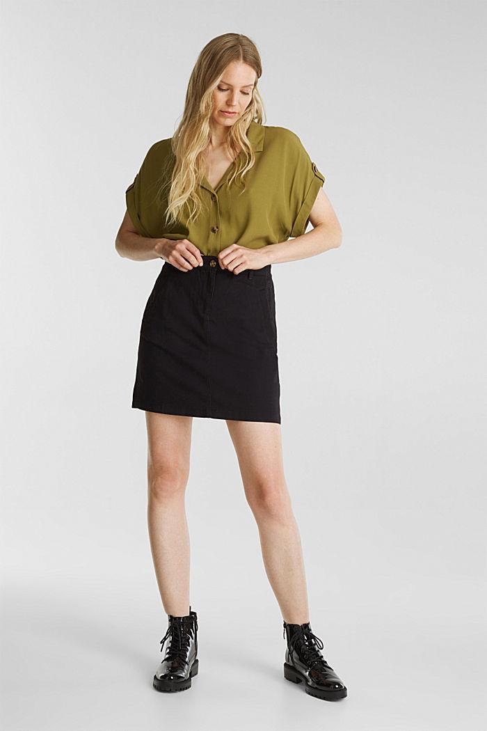 Mini skirt in 100% cotton, BLACK, detail image number 1