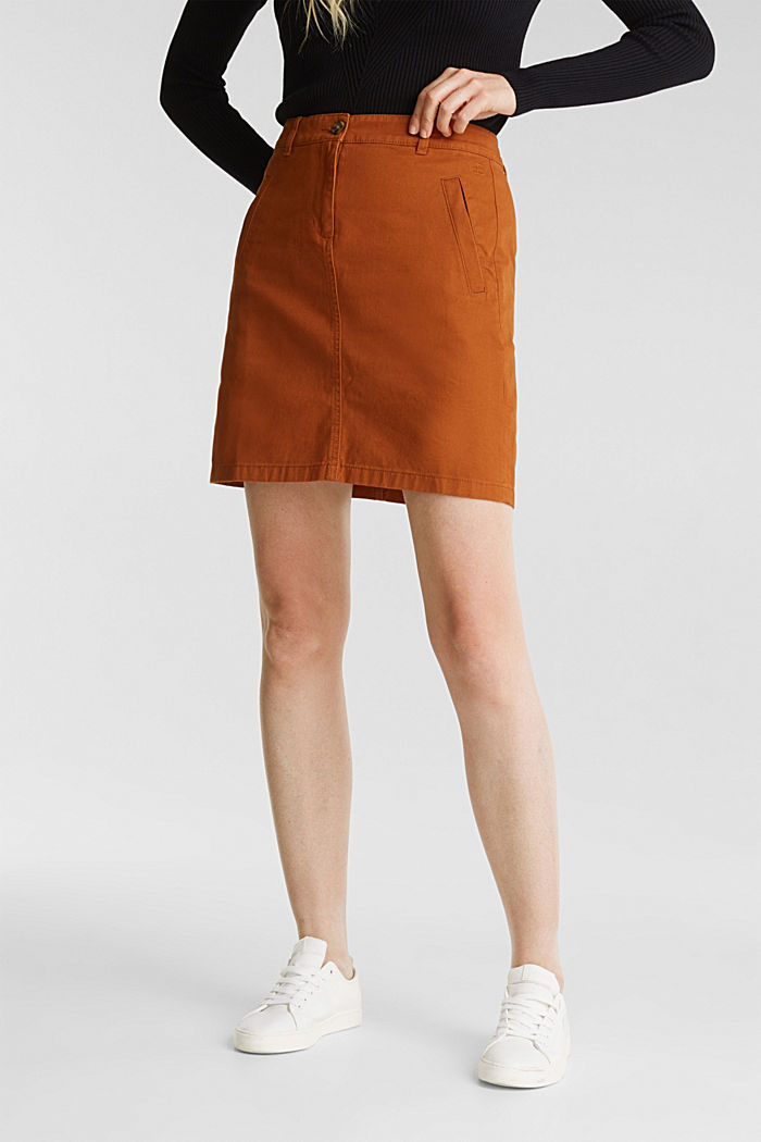 Mini skirt in 100% cotton, RUST BROWN, detail image number 0