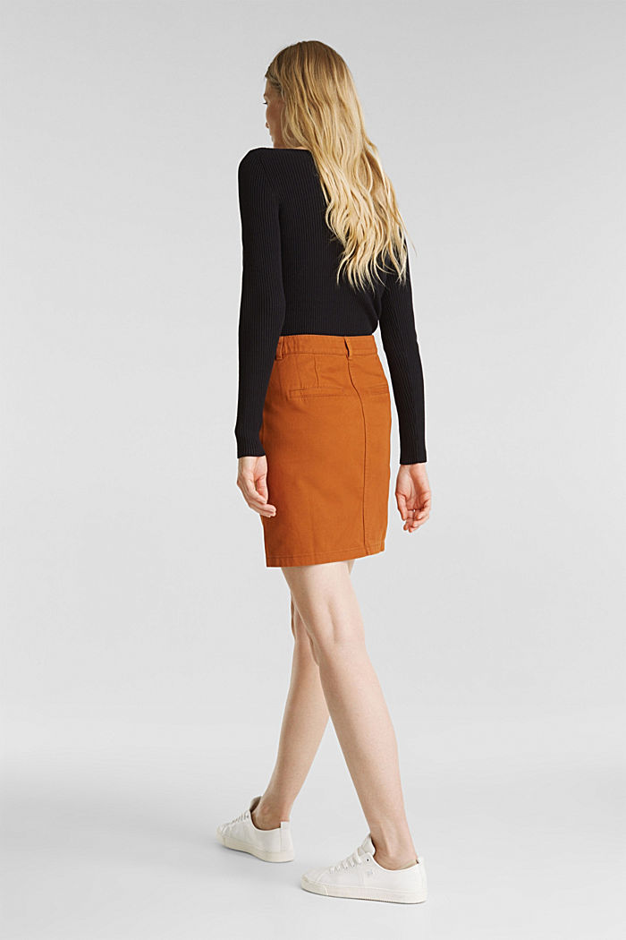Mini skirt in 100% cotton, RUST BROWN, detail image number 3