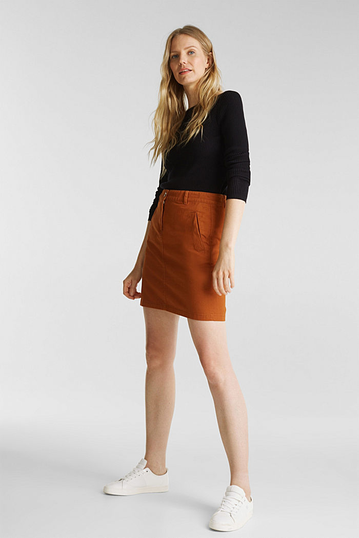 Mini skirt in 100% cotton, RUST BROWN, detail image number 1