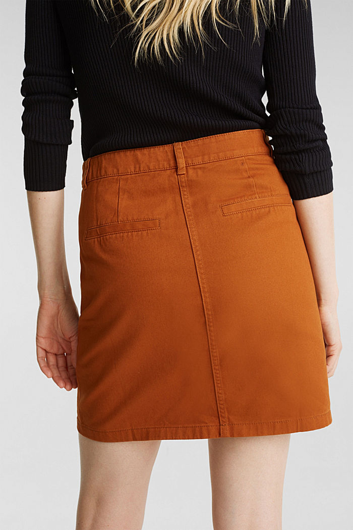 Mini skirt in 100% cotton, RUST BROWN, detail image number 2