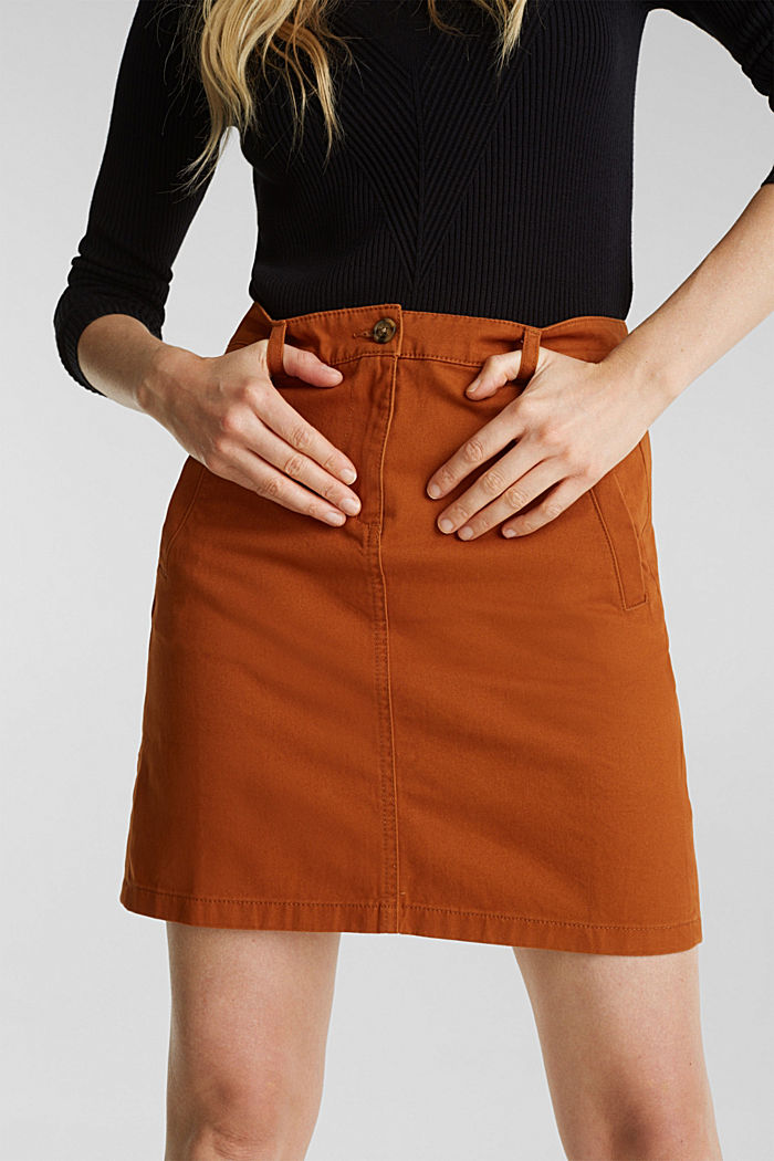 Mini skirt in 100% cotton, RUST BROWN, detail image number 5