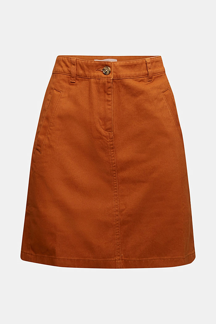 Mini skirt in 100% cotton, RUST BROWN, detail image number 6