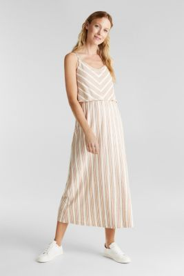 With linen: dress in a two-piece look, RUST BROWN, detail