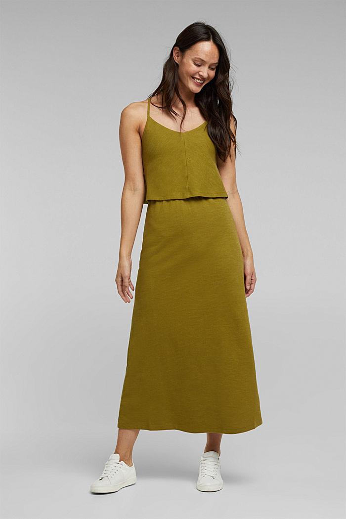 Linen blend: dress made of organic cotton, OLIVE, detail image number 0