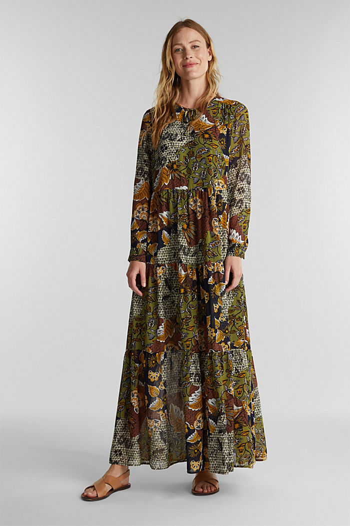 Recycled: Maxi dress with a print, OLIVE, overview