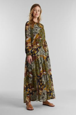 Recycled: Maxi dress with a print, OLIVE 4, detail