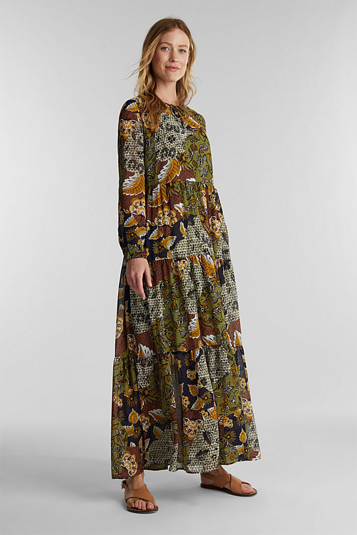 Recycled: Maxi dress with a print, OLIVE, detail image number 1