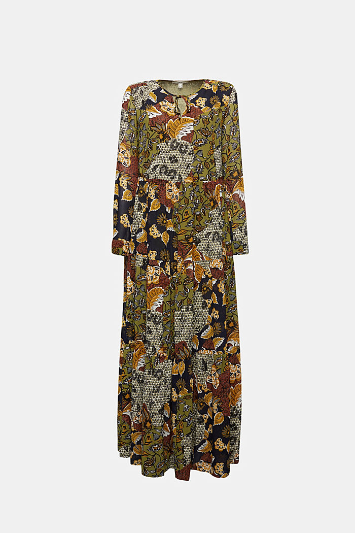 Recycled: Maxi dress with a print, OLIVE, detail image number 5