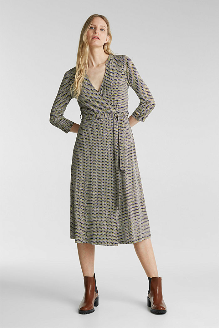 Patterned jersey dress with a wrap-over effect