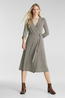 Patterned jersey dress with a wrap-over effect, NAVY, detail