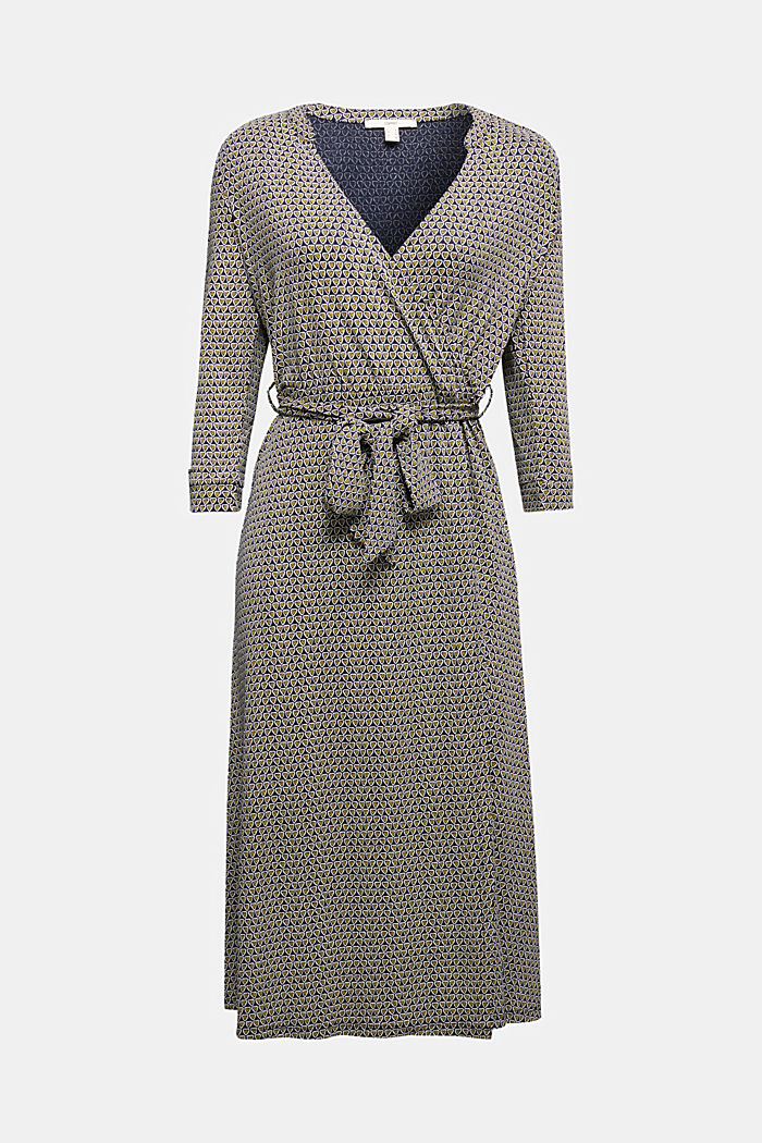 Patterned jersey dress with a wrap-over effect, NAVY, overview