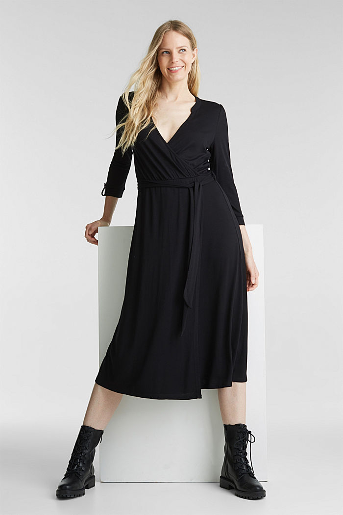 Midi wrap dress in jersey, BLACK, detail image number 0