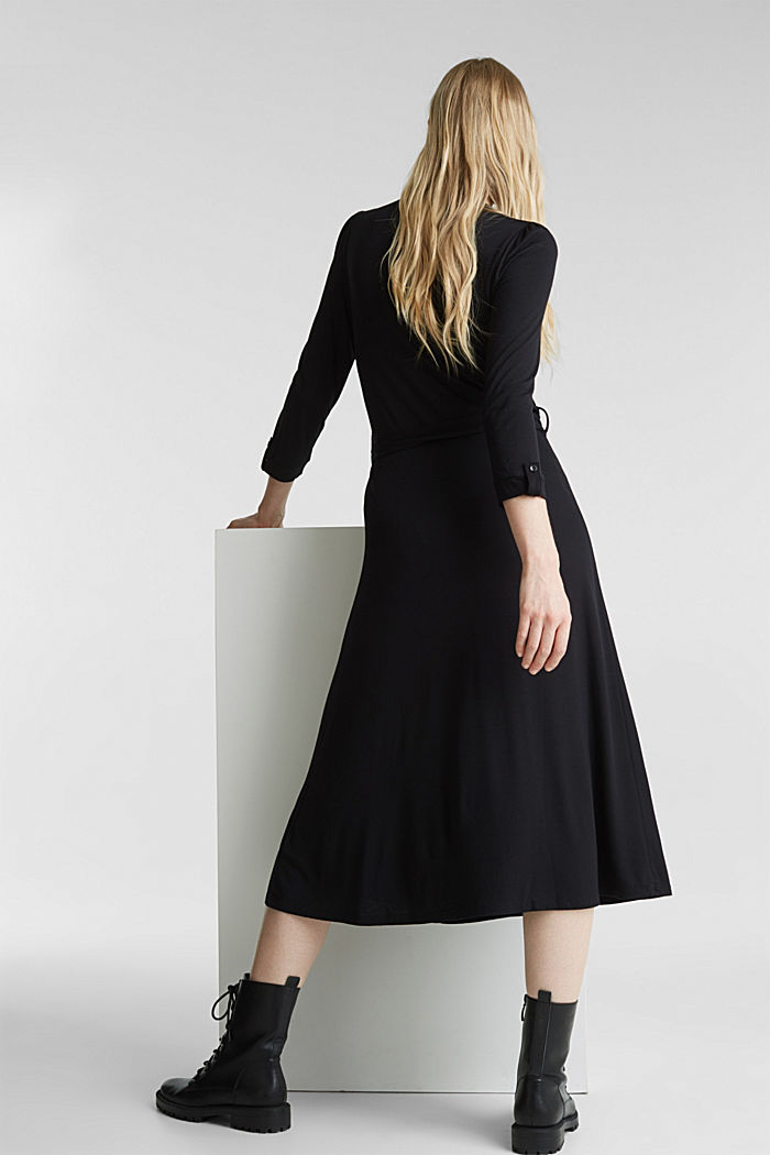 Midi wrap dress in jersey, BLACK, detail image number 2