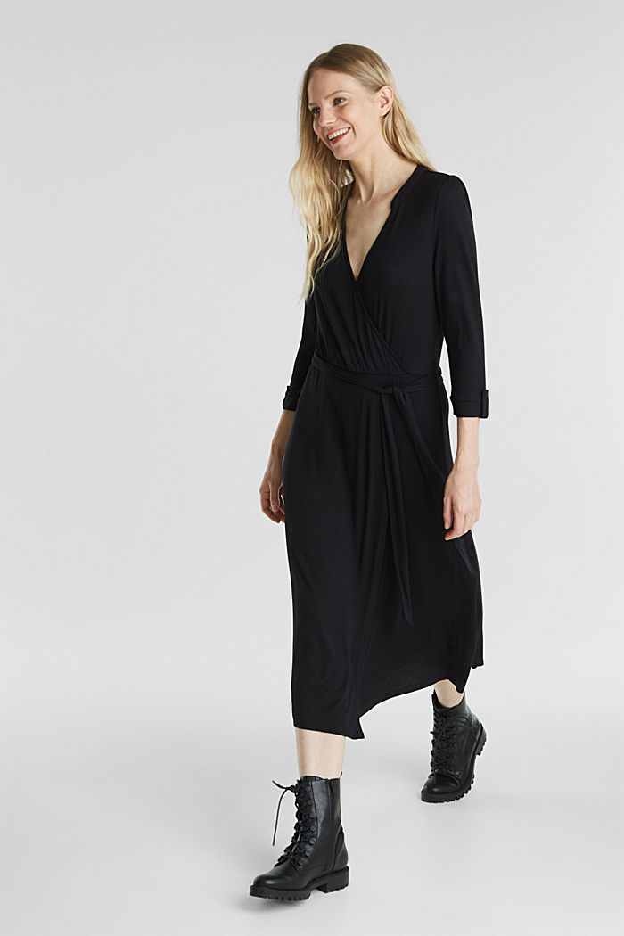 Midi wrap dress in jersey, BLACK, detail image number 1