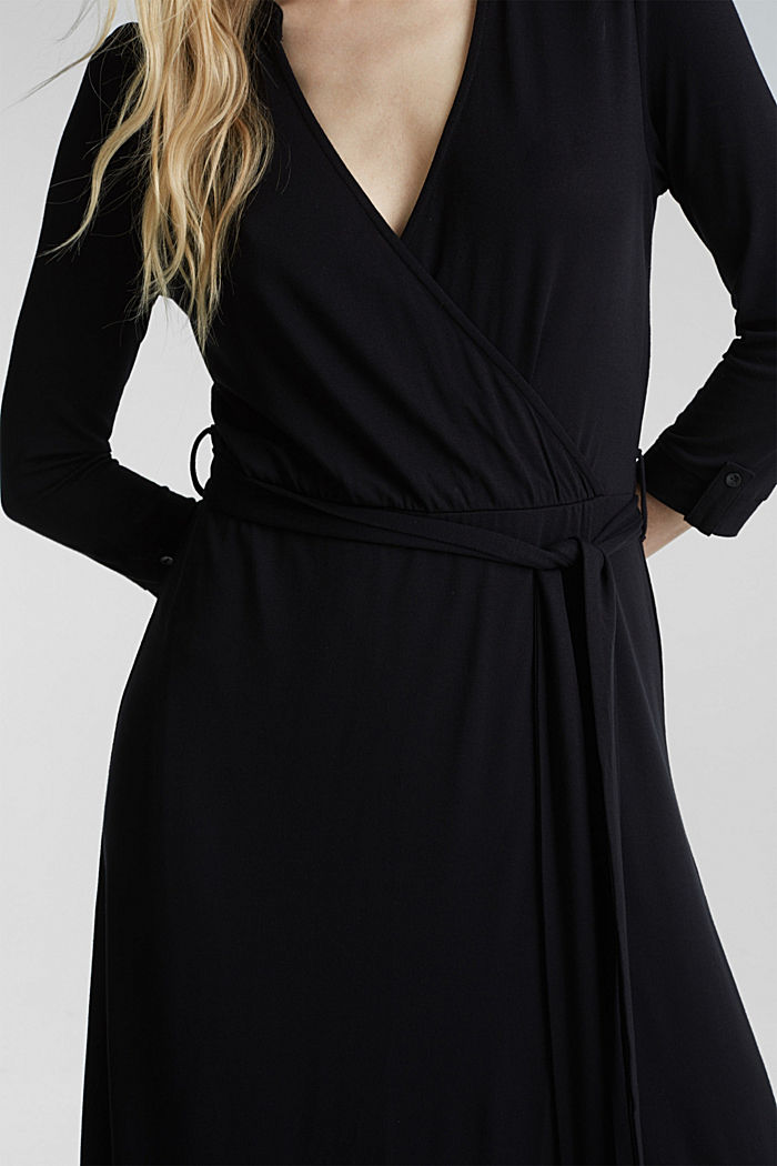 Midi wrap dress in jersey, BLACK, detail image number 3
